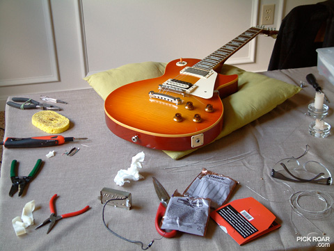 Vintage burst Les Paul and pickup soldering tools