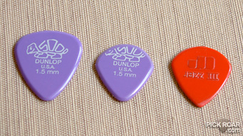 Dunlop Delrin, modded Delrin, and Jazz III guitar picks.