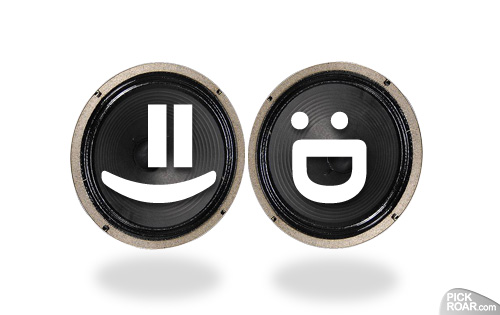 guitar speakers with happy emoticons
